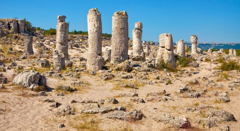 Panoramic view of the Upright Stones natural phenomenon near Varna, Bulgaria.
